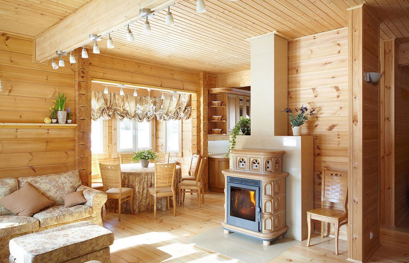 Интерьеры деревянных коттеджей - Интерьеры деревянных домов, фото Фото деревянных